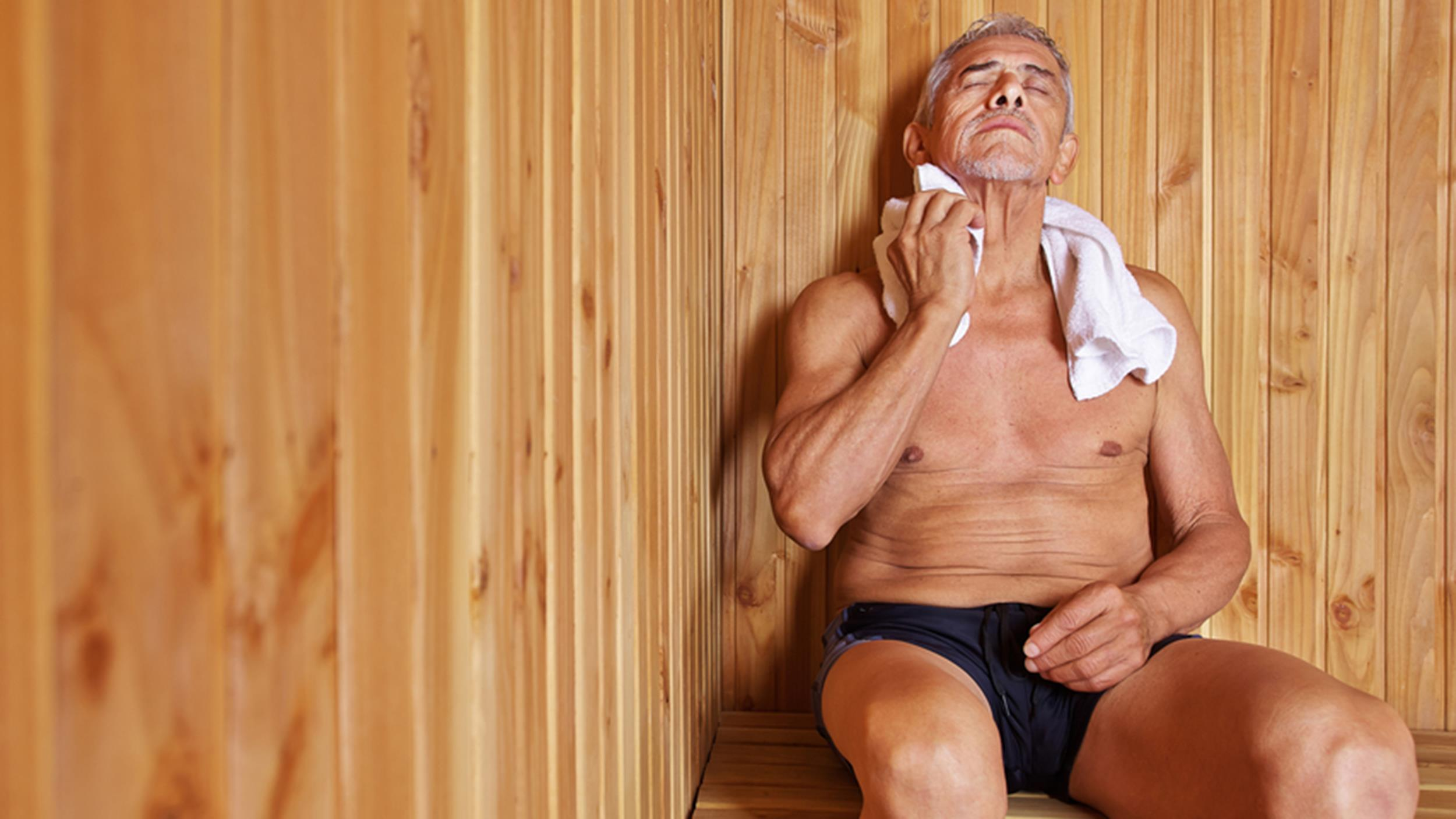 Older man in sauna